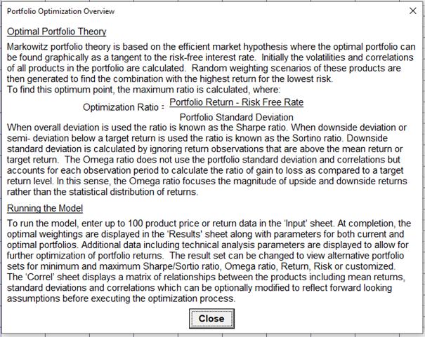 Portfolio Optimization Overview