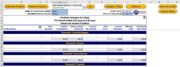 Registerkarte Value in Portfolio Performance Monitoring