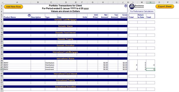 Registerkarte Trans in Portfolio Performance Monitoring