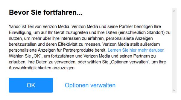 Verizon Media will Ihre Daten nutzen