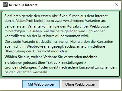Kursabruf mit oder ohne Webbrowser