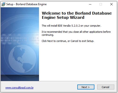 Beginn der Installation von Borland Database Engine