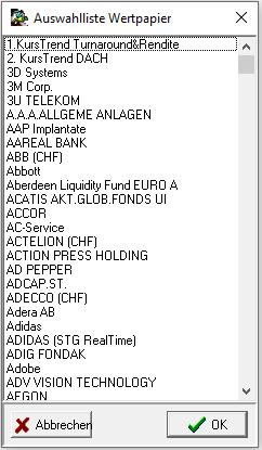 Auswahlliste Wertpapier