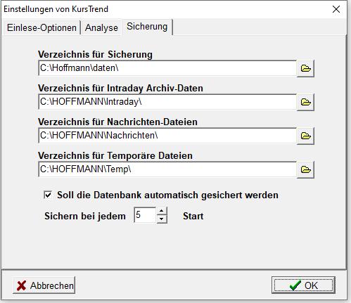 Registerkarte Sicherung bei Hoffmanns Kurstrend