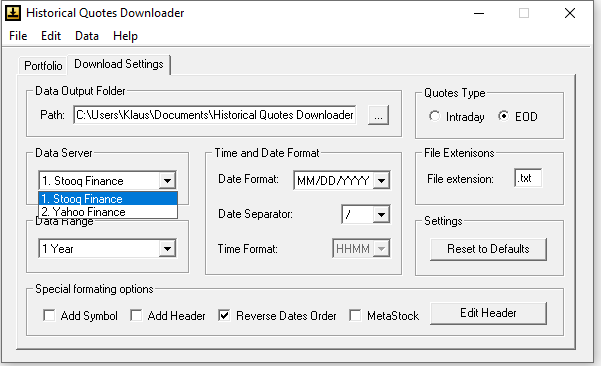 Download Settings von Historical Quotes Downloader