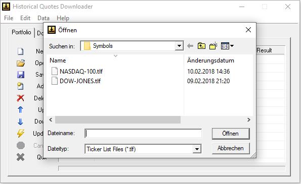 Historical Quotes Downloader - Symbollisten für die Indices Nasdaq-100 und Dow-Jones