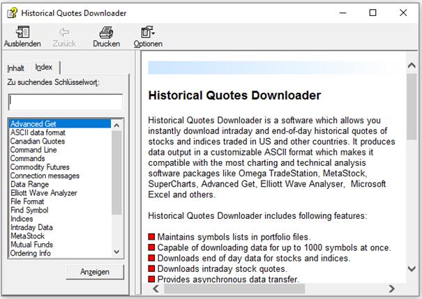 Handbuch von Historical Quotes Downloader