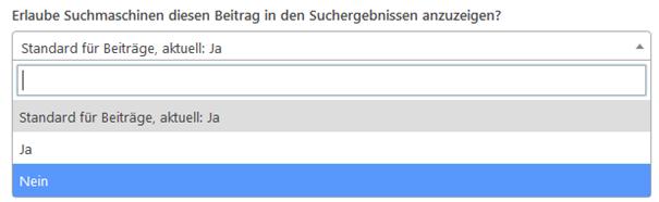 Yoast SEO - Beitrag soll nicht in den Suchergebnissen angezeigt werden
