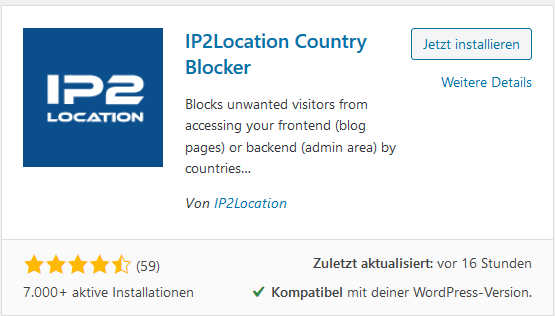 WordPress Plugin IP2Location Country Blocker installiieren und aktivieren
