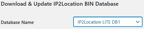 Registerkarte Settings - bei Feld Database Name IP2Location Lite DB1 auswählen