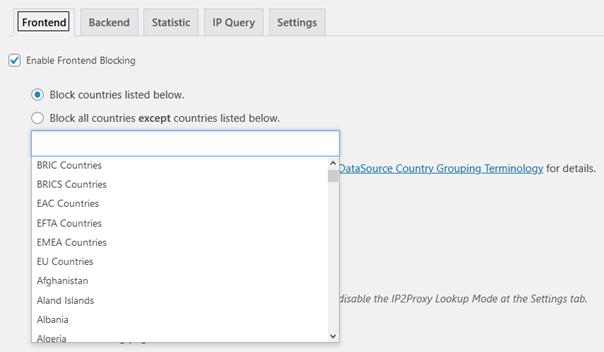 Registerkarte Frontend Ländergruppen oder Länder ausschließen