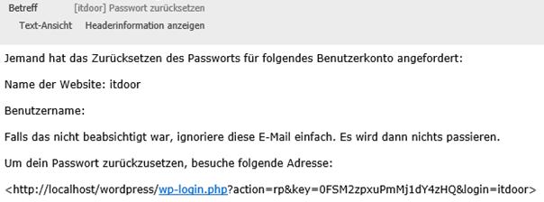 Beweis: Localhost Password Reset Anmeldelink erhalten