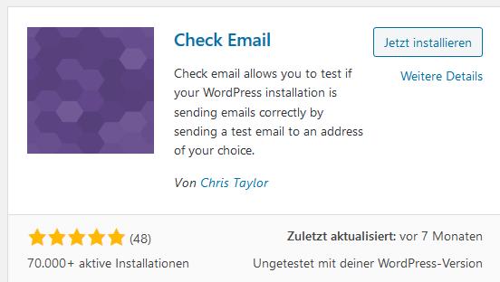 Das WordPress Plugin Check Email für WordPress Localhost