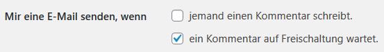 WordPress eine E-Mail senden, wenn ein Kommentar auf Freischaltung wartet