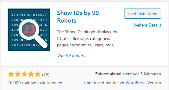 Show ID Plugin Show IDs by 99 Robots