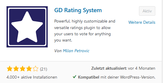 Rating Plugin GD Rating System