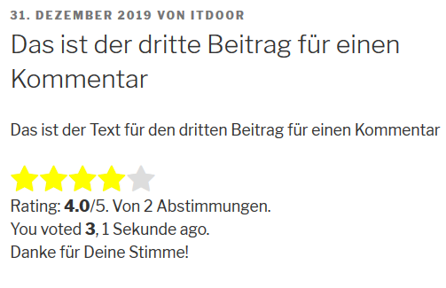 Zwei Bewertungen bei dem Rating Plugin GD Rating System