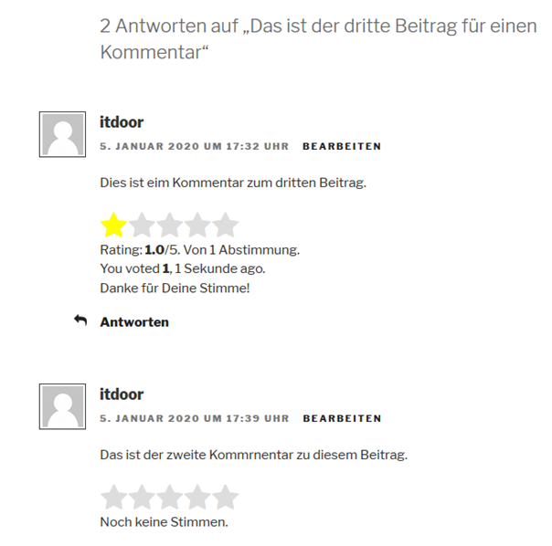 Rating für Kommentare bei dem Rating Plugin GD Rating System