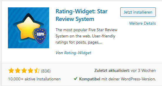 Rating Plugin Rating-Widget: Star Review