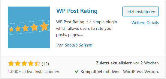 Rating Plugin WP Post Rating