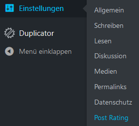 Menüpunkt Post Rating Plugin WP Post Rating