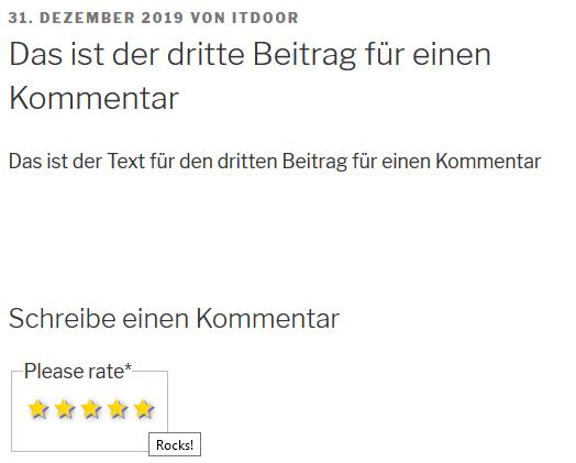 Abgabe einer Bewertung bei dem Plugin WP Post Rating