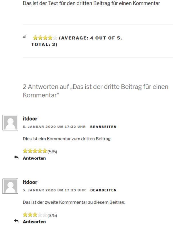 Plugin WP Post Rating mit einer Bewertung für einen Kommentar