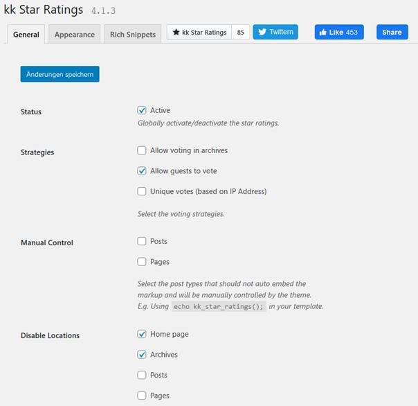 Einige Einstellungen des Plugins kk Star Ratings