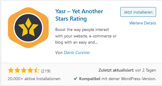 Rating Plugin Yasr – Yet Another Stars Rating