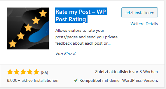 Rating Plugin Rate my Post – WP Post Rating