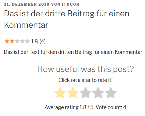 Vier Bewertungen bei dem Plugin Rate my Post – WP Post Rating