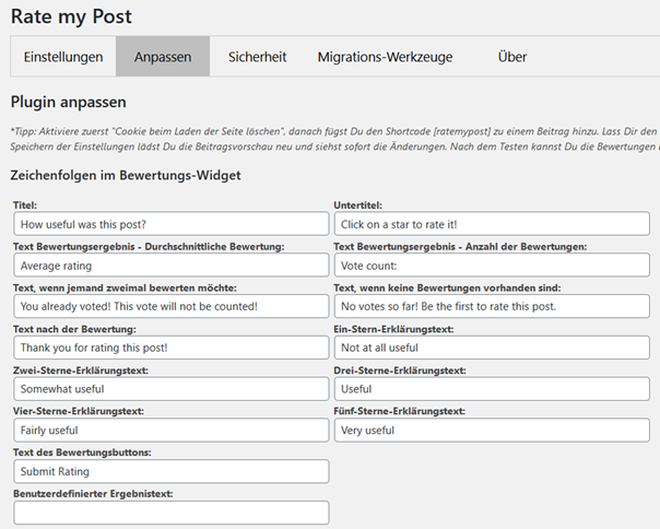 Benutzerdefinierbare Texte bei dem Plugin Rate my Post – WP Post Rating