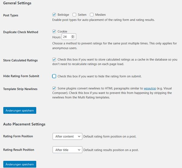 Einige Einstellungen des Plugins Multi Rating