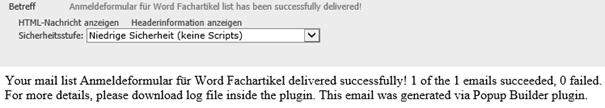 Bestätigung vom WordPress Plugin Popup Builder für Versendung Newsletter