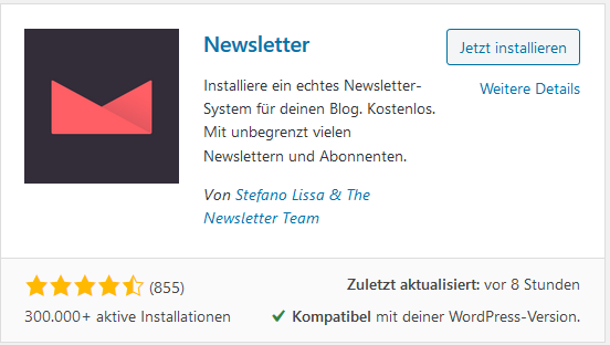 WordPress Plugin Newsletter von Stefano Lissa