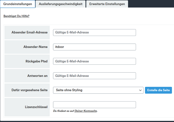 WordPress Plugin Newsletter Registerkarte Grundeinstellungen