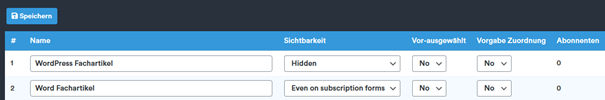 WordPress Plugin Newsletter Liste mit Einstellung Hidden