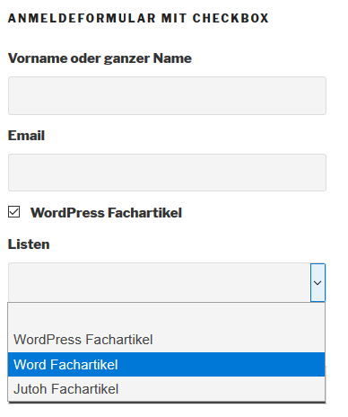 WordPress Website Even on subscriptions forms für WordPress Fachartikel