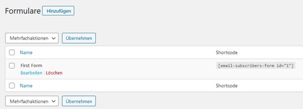 Liste Anmeldeformulare WordPress Plugin Email Subscribers