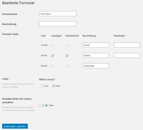 Einstellungsoptionen Anmeldeformular WordPress Plugin Email Subscribers