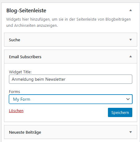 Widget Email Subscripers für die Blog-Seitenleiste