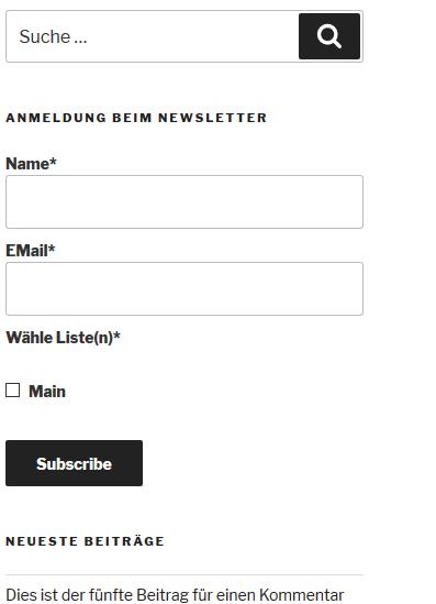 Plugin Email Subscribers Anmeldeformular auf der Website