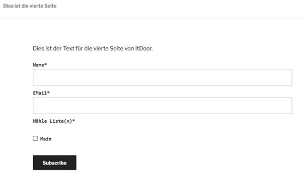 WordPress-Website Anmeldeformular von Plugin Email Subscribers auf einer Seite