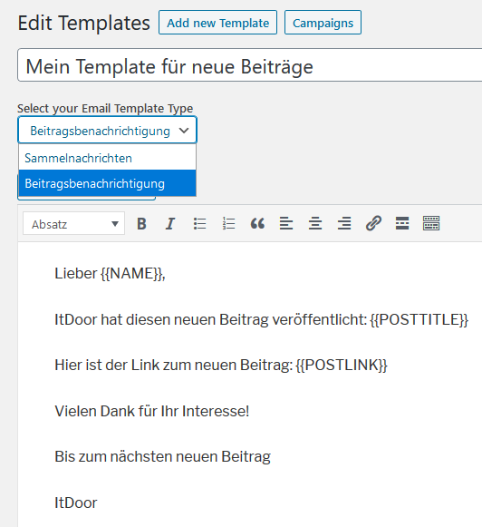 Plugin Email Subscribers neu erstelltes Template für Post Notification