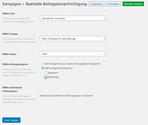 Plugin Email Subscribers Beitragsbenachrichtigung erstellen bzw. bearbeiten