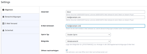 Plugin Email Subscribers Registerkarte Allgemein