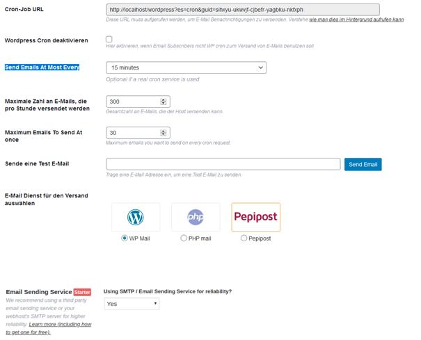 Plugin Email Subscribers Einstellungsmöglichkeiten Registerkarte E-Mail Versand