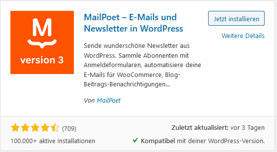 WordPress Plugin MailPoet