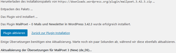 Installation des WordPress Plugins MailPoet