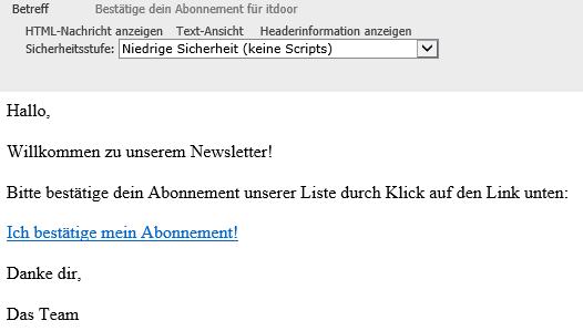WordPress Plugin MailPoet Bestätigungs-E-Mail für den Abonnenten